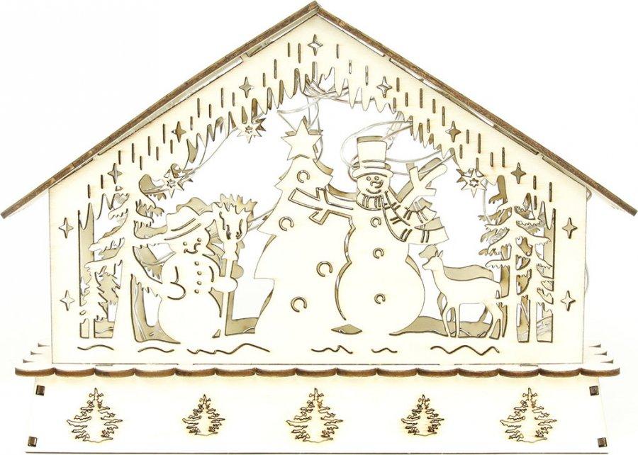 Domeček dřevěný, dekorace vánoční s LED světlem
