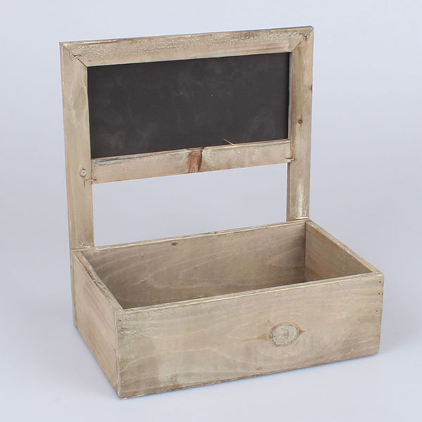 Dřevěný truhlík s tabulí hnědý 27x30x18,5cm