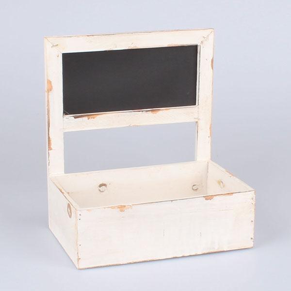 Dřevěný truhlík s tabulí bílý 27x30x18,5cm