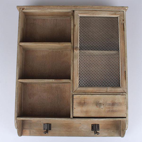 Závěsná dřevěná skříňka s policemi hnědá 52x61x13cm
