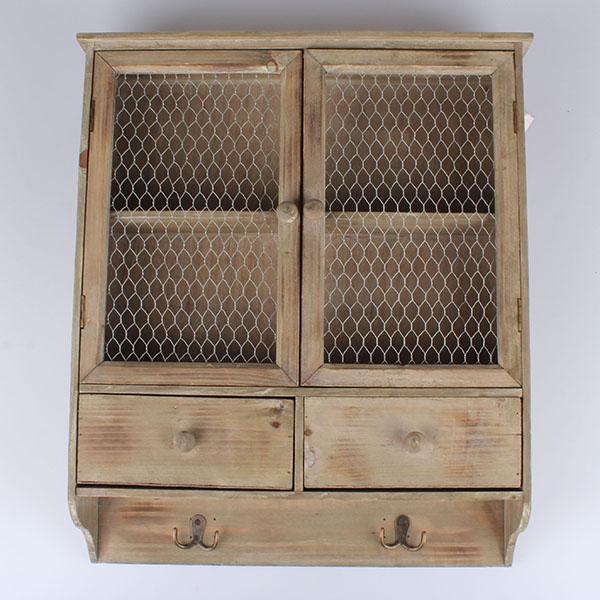 Casa de Engel Závěsná dřevěná skříňka hnědá 52x61,5x13cm