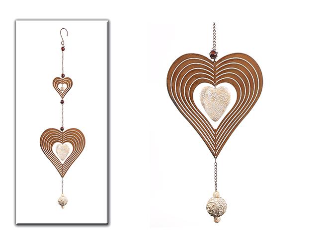 Srdce závěs kov 72cm Barva: hnědá