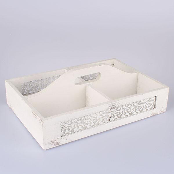Casa de Engel Dřevěná přepravka bílá 38x13x26cm