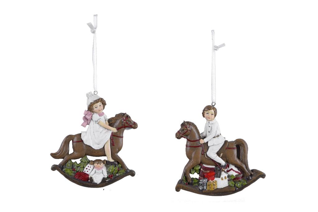 Ego Dekor Dekorace | vánoční | k zavěšení | postavička | na koni | více barev Barva: bílá EDEGO-470030