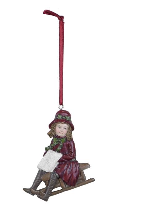Ego Dekor Dekorace | vánoční | k zavěšení | postavička | sáňky | více barev Barva: červená, Provedení: Holka EDEGO-470035/CER