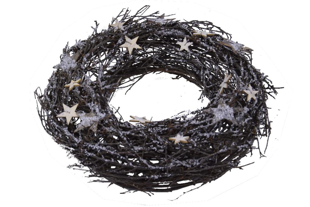 Ego Dekor Věnec   vánoční   proutí a hvězdy   27cm