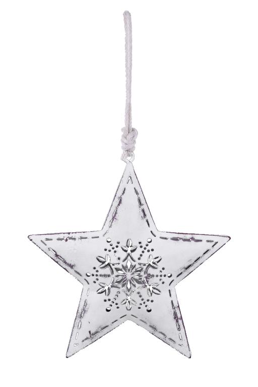Ego Dekor Vánoční dekorace | hvězda | s vločkou | bílá Velikost: větší