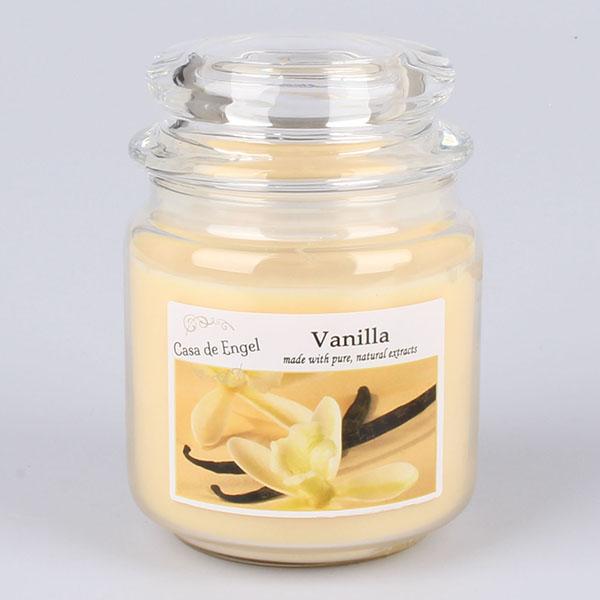 Casa de Engel Vonná svíčka ve skle se skleněným víčkem Vanilka 360g