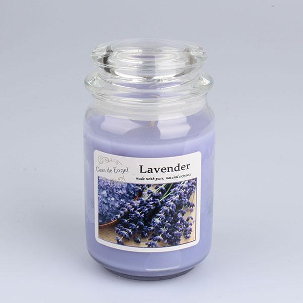 Casa de Engel Vonná svíčka ve skle se skleněným víčkem Levandule 460g