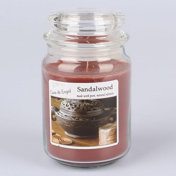 Casa de Engel Vonná svíčka ve skle se skleněným víčkem Santalové dřevo 460g