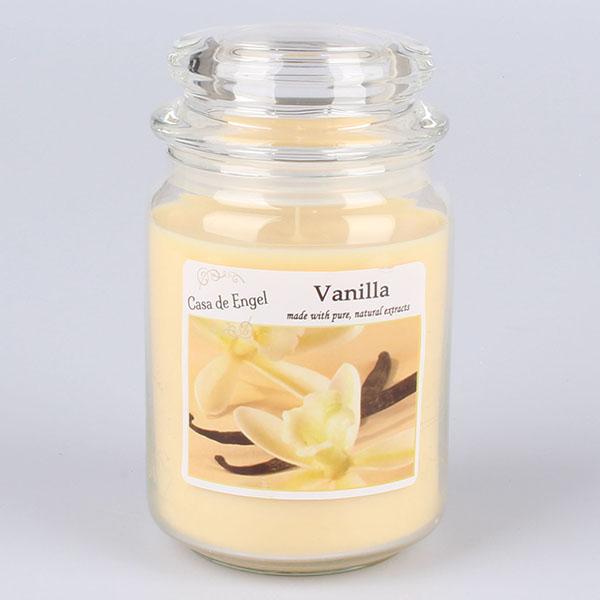 Casa de Engel Vonná svíčka ve skle se skleněným víčkem Vanilka 460g