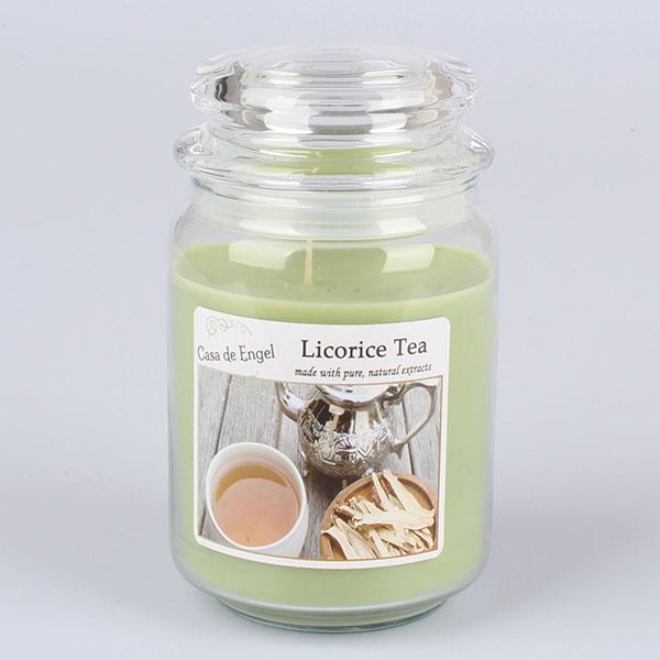 Casa de Engel Vonná svíčka ve skle se skleněným víčkem Lékořicový čaj 460g