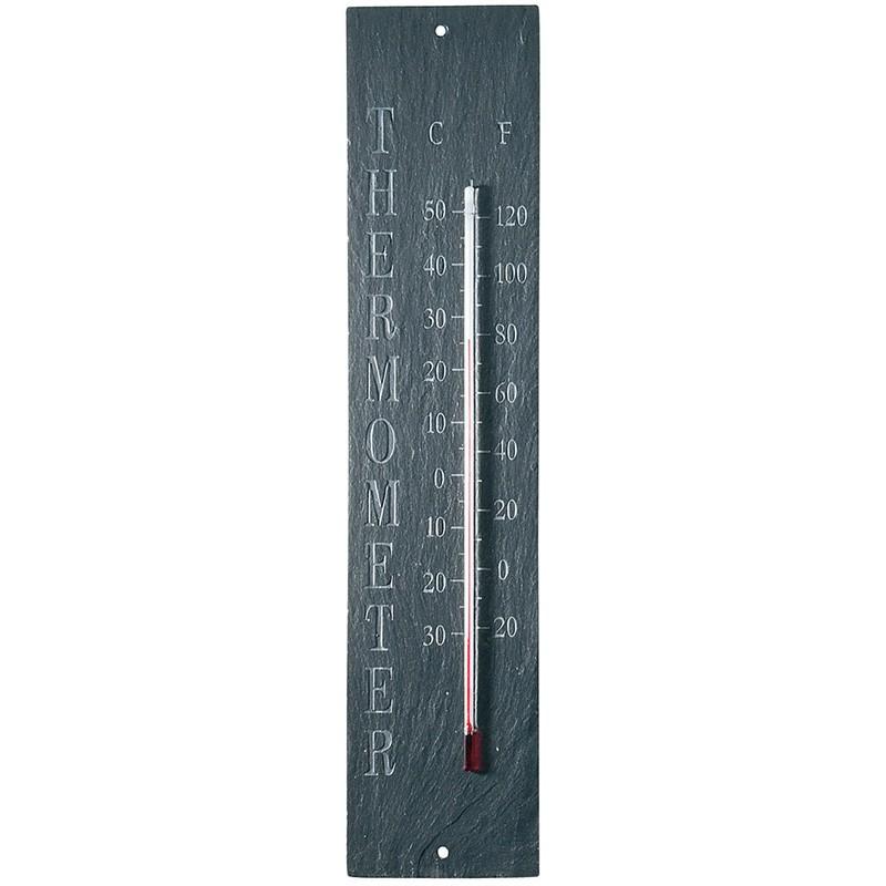 ESSCHERT DESIGN Venkovní teploměr s nápisem břidlice 45x6cm