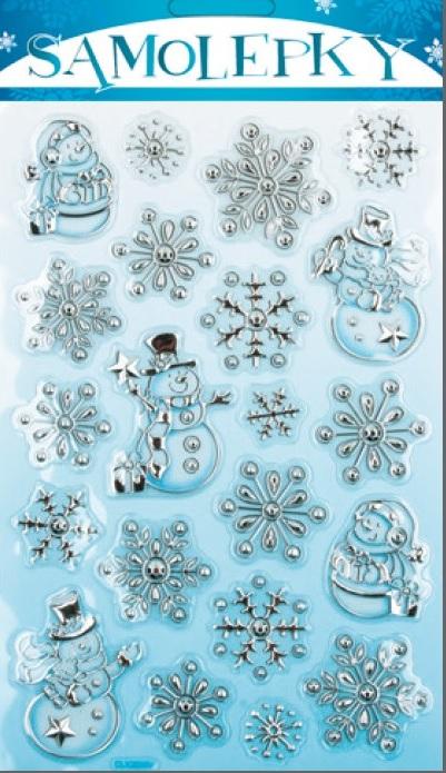 Anděl Přerov Samolepky plastické sněhuláčci stříbrno-modré 25x14cm