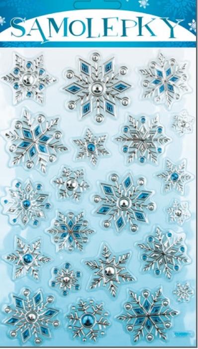 Samolepky plastické vločky stříbrno-modré 25x14cm