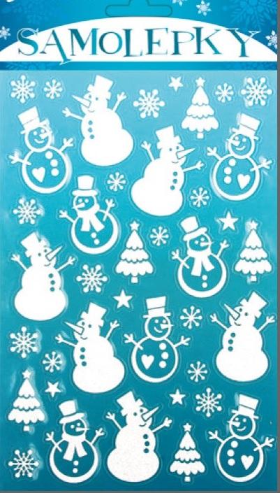 Samolepky sněhuláci bílé se sněhovým efektem s jemnými glitry 25x14cm