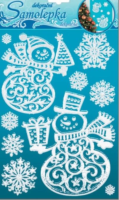 Samolepky sněhuláci se sněhovým efektem s glitry 26x18,5cm