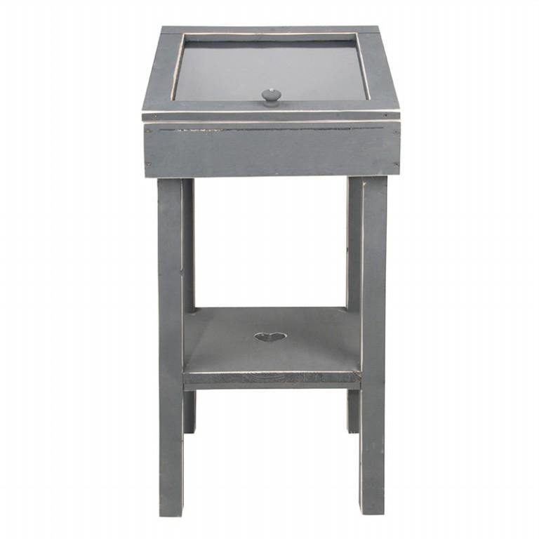 ESSCHERT DESIGN Noční stolek s víkem šedý 40x40x80cm