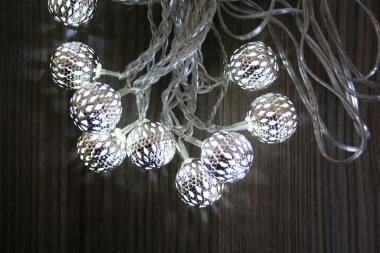 LED světelný řetěz koule kovový efekt 3 m