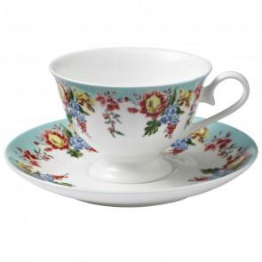 Creative Tops Květinový porcelánový šálek s podšálkem