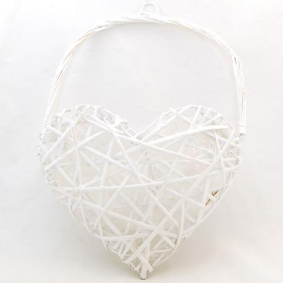 Srdce proutěné bílé s uchem 28x40x11cm