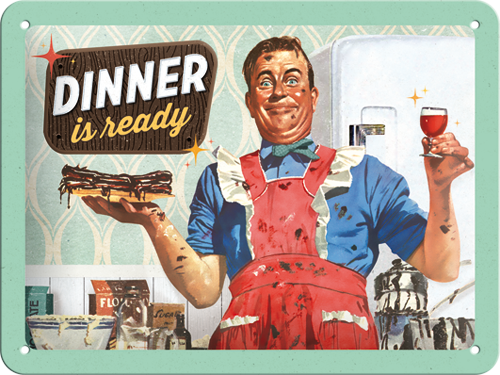 Nostalgic Art Plechová cedule Dinner Is Ready Rozměry: 15x20cm