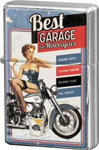 Nostalgic Art Zapalovač Best Garage For Motorcycles Bike Wash