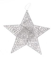 KI Hvězda kov stříbrná 20cm