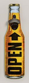 Cedule láhev s otvírákem žlutá kov 10x40cm