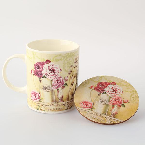 Hrnek porcelánový s podložkou růže 360ml 11,5×10×8cm