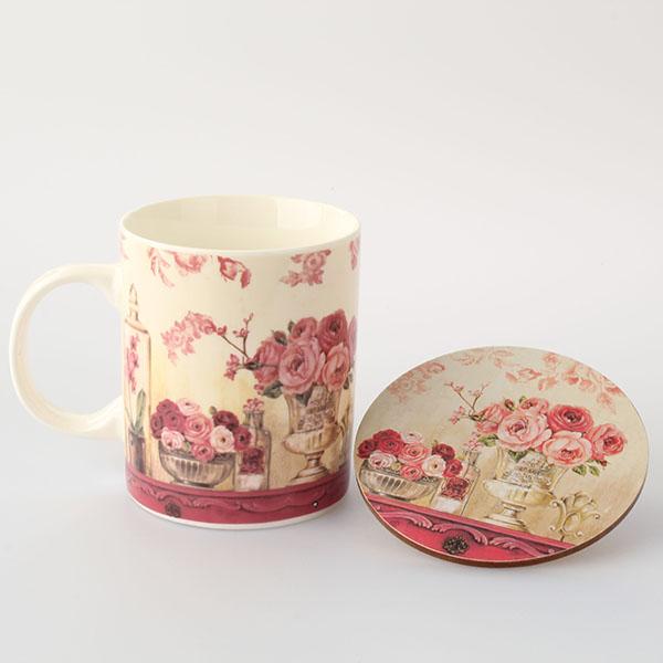 Hrnek porcelánový s podložkou růže 360ml 11,5×10×8cm I