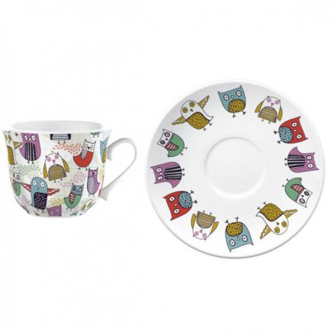 Creative Tops Šálek s podšálkem Retro Owl porcelán