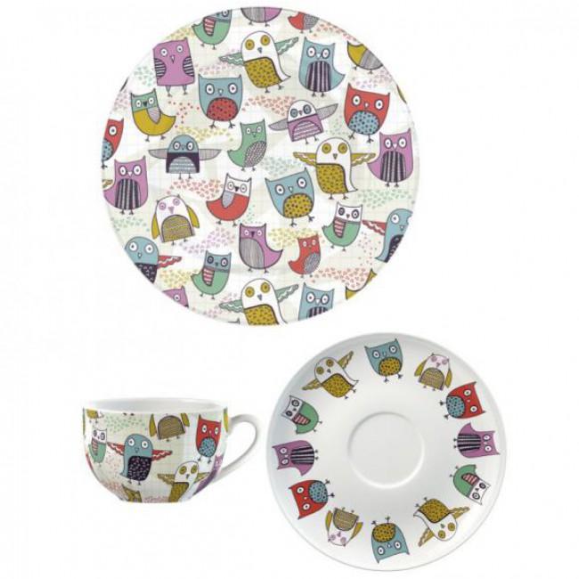Creative Tops Šálek s podšálkem a talířem Retro Owl porcelán