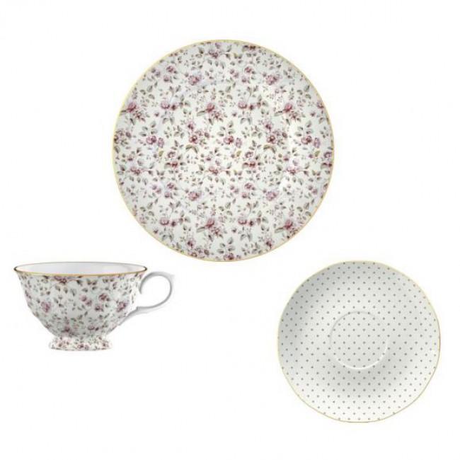 Creative Tops Šálek s podšálkem a talířem White Floral porcelán