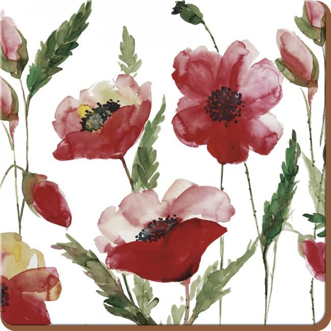 Creative Tops Korkové prostírání Watercolour Poppy Rozměry: 10x10cm - 6ks