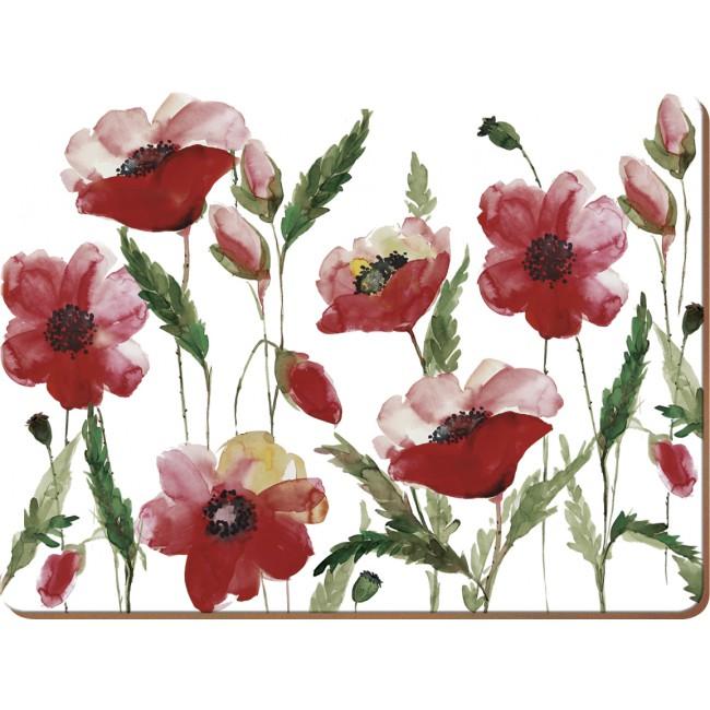 Creative Tops Korkové prostírání Watercolour Poppy Rozměry: 21x29cm - 6ks