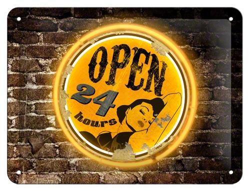 Nostalgic Art Plechová cedule Open 24 hrs Rozměry: 15x20cm