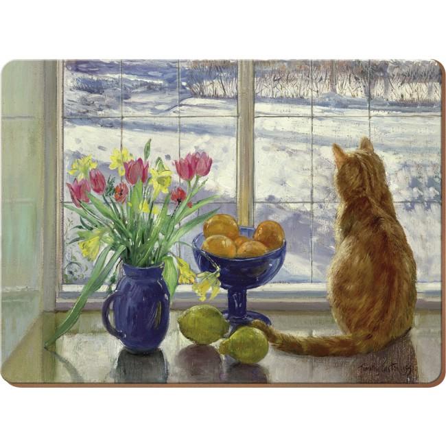 Creative Tops Korkové prostírání Snowy Cat Rozměry: 21x29cm - 6ks