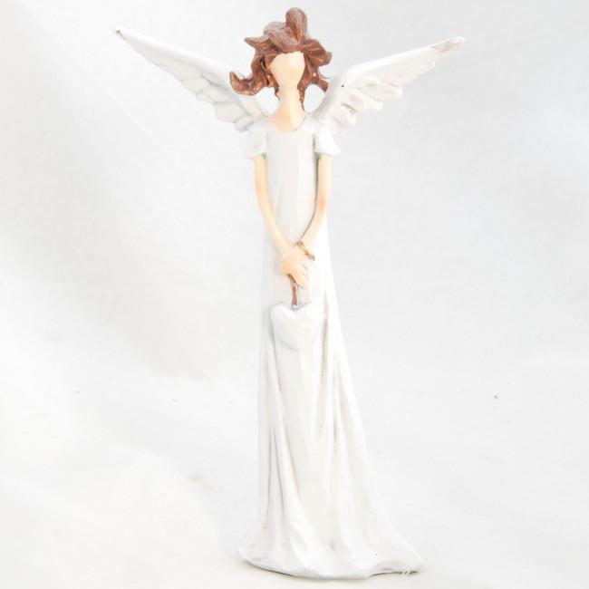 ID Figurka anděla v bílých šatech se srdíčkem 17,5x10,5cm