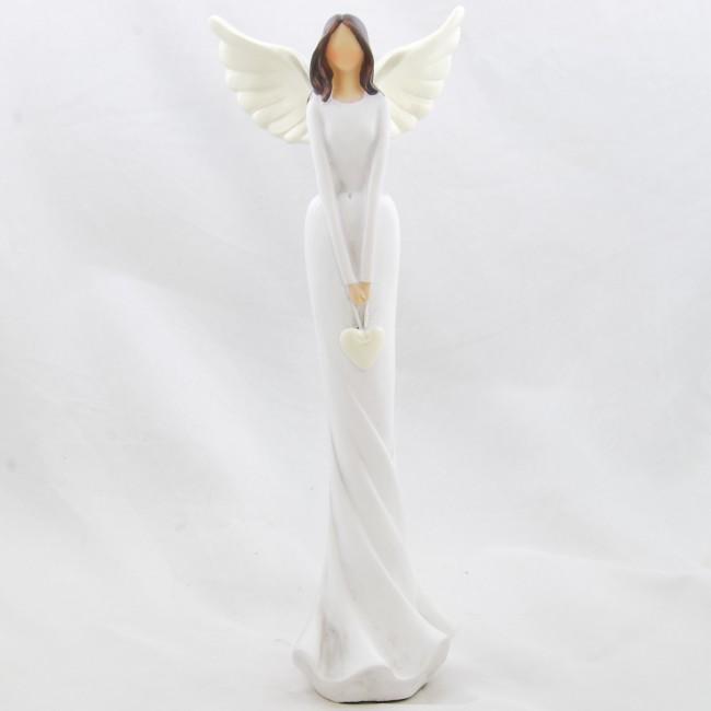 ID Figurka anděla v bílých šatech se srdíčkem 31x11,5cm