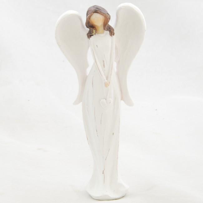 ID Figurka anděla v bílých šatech se srdíčkem 14,5x6,5cm