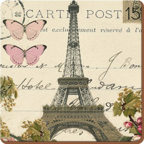 Creative Tops Korkové prostírání Paris Postcard Rozměry: 10x10cm - 4ks