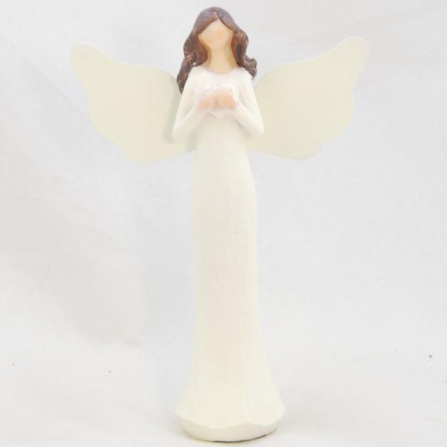 Figurka anděla | v krémových šatech | se srdíčkem | 15x10cm