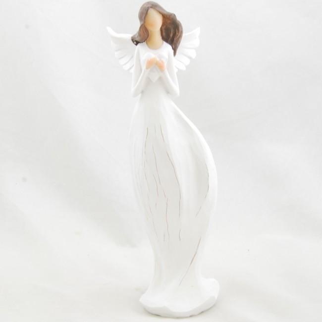 ID Figurka anděla v bílých šatech se srdíčkem 25,5x6,5cm I
