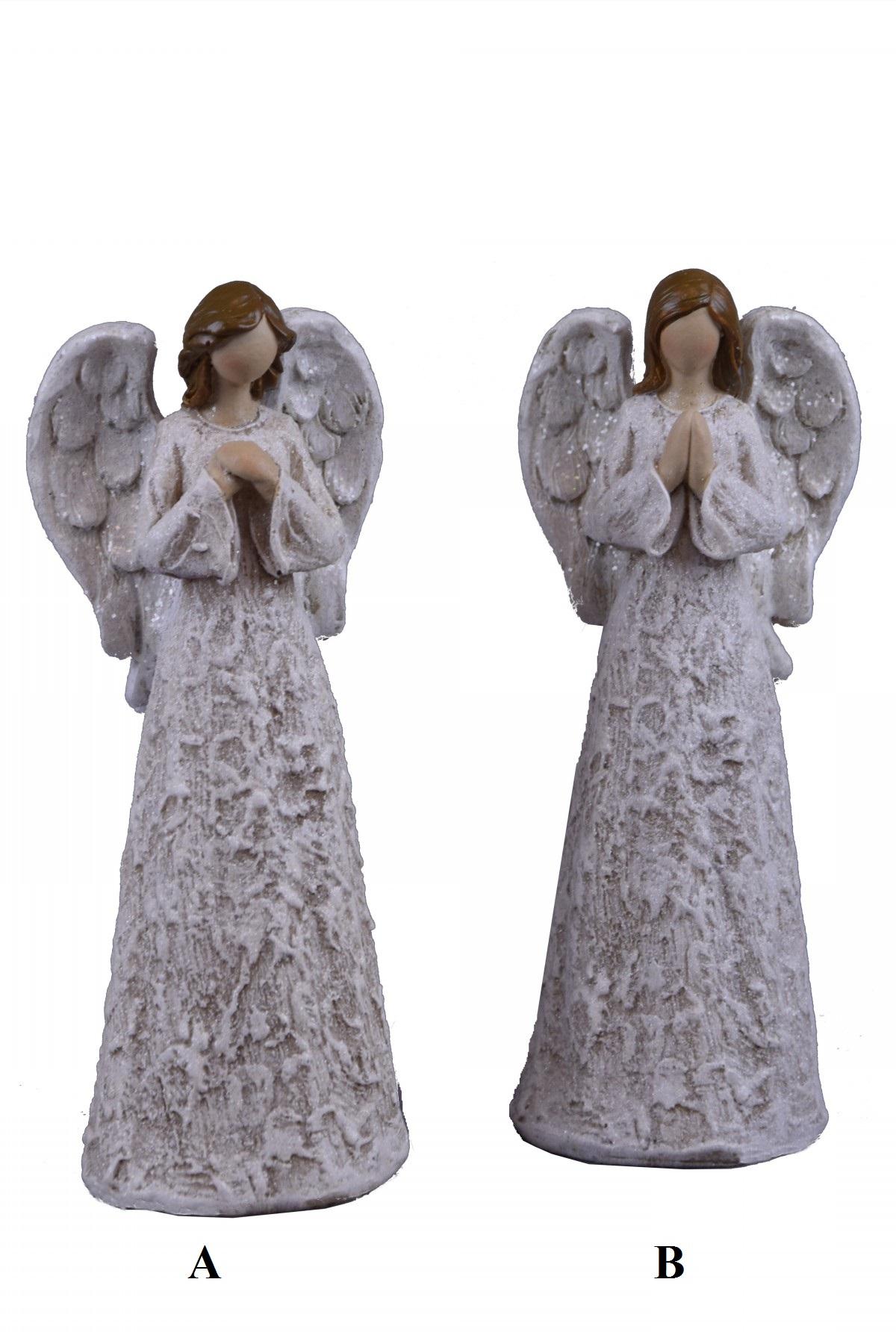 Anděl stříbro-bílý 10x26x7cm Provedení: A