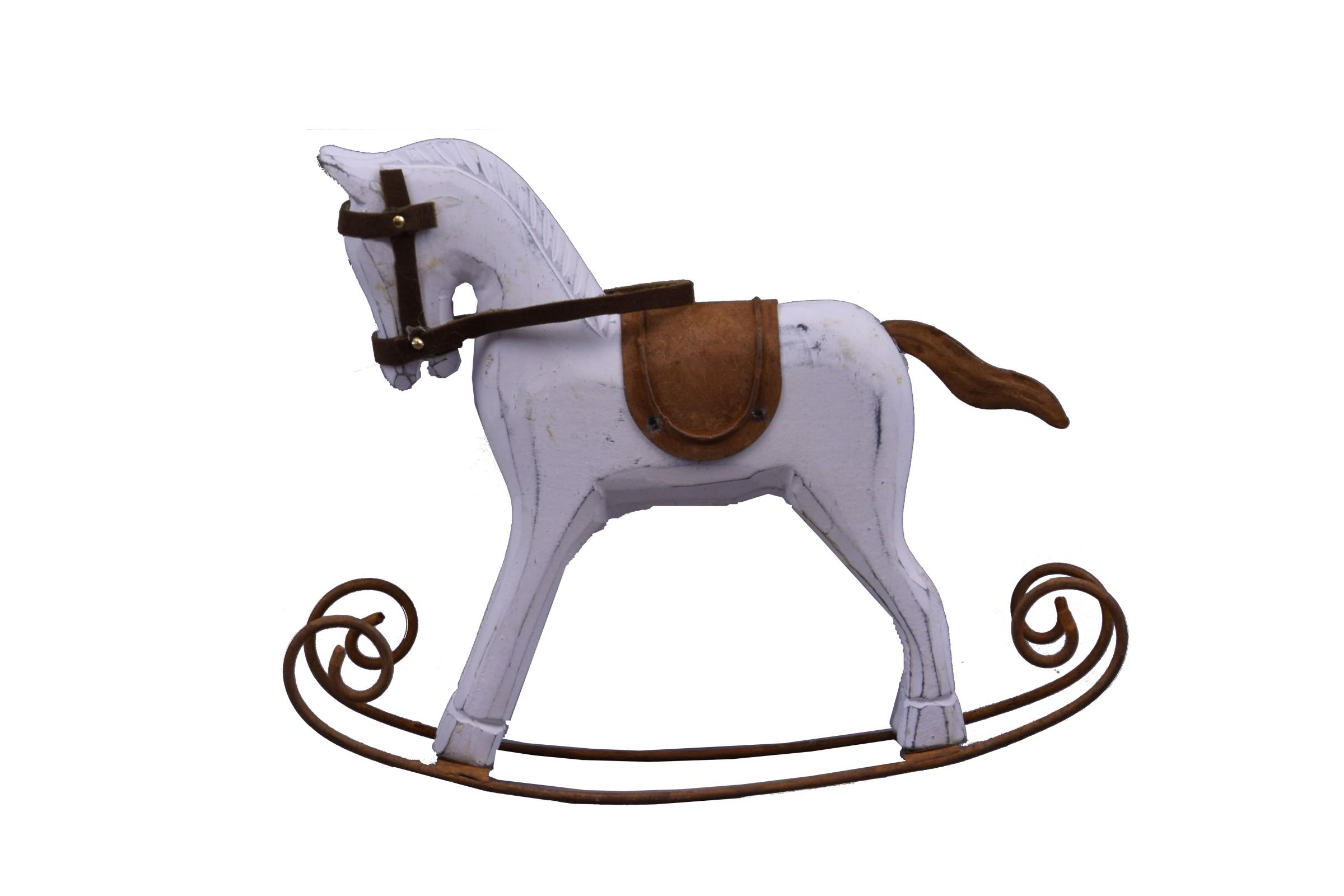 Houpací kůň bílý dřevo Rozměry: 17x14x5cm