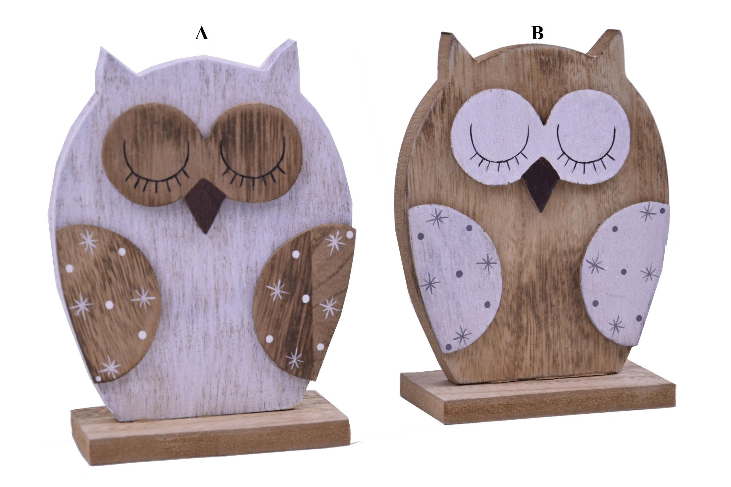 Dřevěná dekorační sova 11x15x5cm Provedení: A