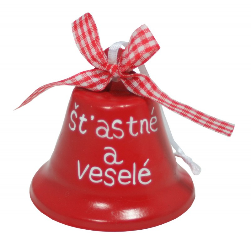 Zvonek plechový šťastné a veselé 6cm Provedení: B