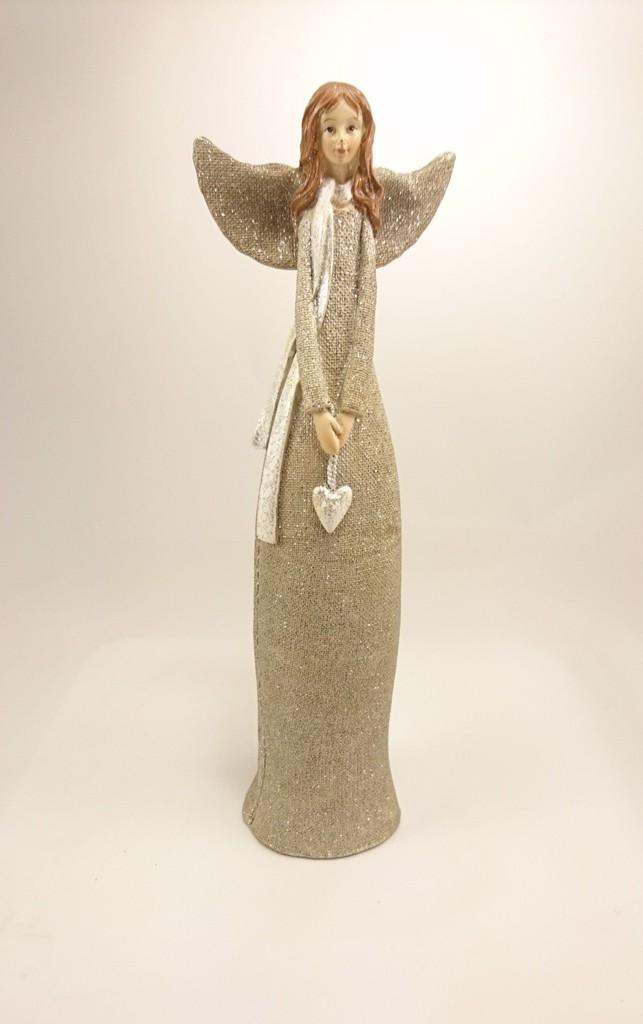 Kolouch Import Anděl zlatý se srdcem 30cm