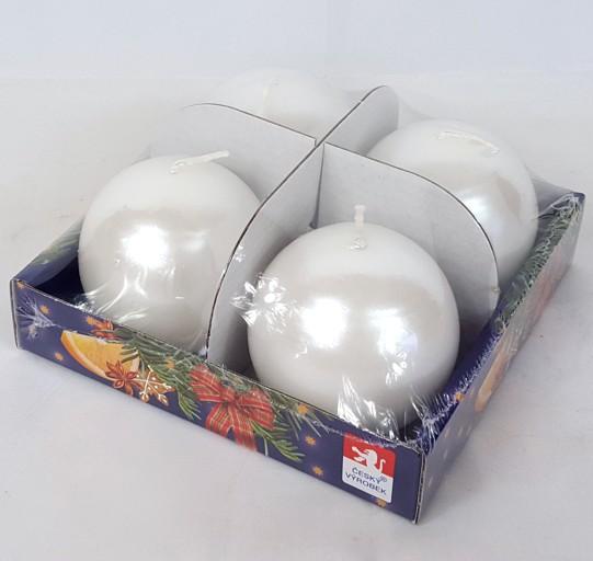 Svíčky adventní s perletí set 4ks koule 60mm Barva: bílá